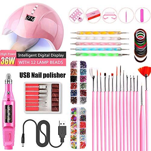 Nail Electric SA, UV Lampe de photothérapie, Nail Sticker Drill Tool Set, Les meilleurs cadeaux pour les filles de femmes,Rose