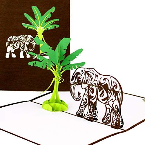 'Pop Up carta 'Elefante & banane albero, 3d compleanno carta Elefant, Pop Up Biglietto d' auguri con...