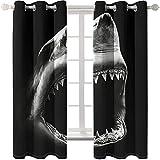 KYLN Gran tiburón Blanco Cortinas de Sala de Estar-Cortinas de Aislamiento Opacas Resistencia al Calor y la luz en el salón y el Dormitorio. 117X228cm(46x90IN)