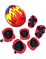 ZIXIXI Kids 7 Stuks Outdoor Sport Beschermende Gear Set Jongens Meisjes Fietshelm Veiligheid Pads Set voor Roller Scooter Skateboard Fiets (Knie Pads+Elleboog Pads+Pols Pads+Helm)