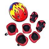 Ububiko 7 Casco y Protecciones Ajustable Infantiles Rodilleras Coderas, Protección Patinaje, Set di Casco para Scooter Ciclismo Rodillo Patinaje y Deportes Extremos