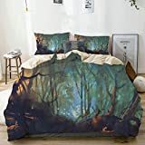 Juego de Funda nórdica Beige, Verde Azulado Mystic Dark Forest Artsy Print, Juego de Cama Decorativo de 3 Piezas con 2 Fundas de Almohada