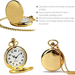 Smooth Vintage Steel Quartz Pocket Watch Classic Fob Pocket Watch with Short Chain for Men Women - Gift for Birthday Anniversary Day Christmas Fathers Day (Gold) #4