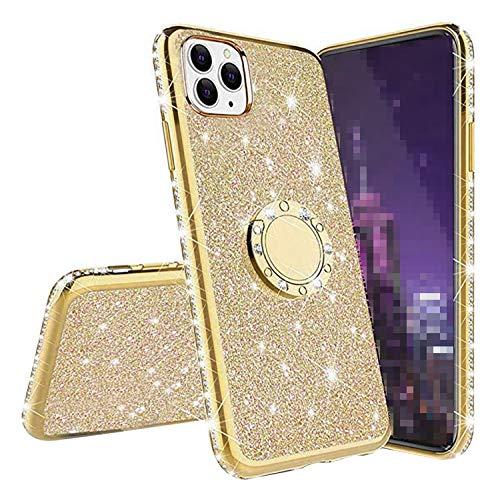 iPhone 12 Pro Max ケース シンプル 耐衝撃 保護ケース ラインストーン 可愛い キラキラ リング付き お洒落 デコ かわいい おしゃれ レディース ソフトケース アイフォン12プロマックス アップル スマホケース 人気 カバー[iPhon