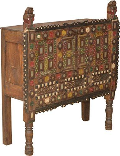 Guru-Shop Traditionele Historische Orissa-ladenkast met Veel Ornamenten - Model 6, Bruin, 106x102x31 cm, Ladekasten Dressoirs