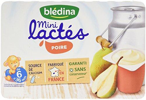 Blédina Les Mini Lactés Poire de 6 à 36 mois 6 x 55 g - Pack de 8