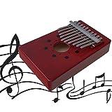 10 Claves, Piano Rojo, Madera Natural, Kalimba, Instrumento Musical Africano con Pegatinas de Tono.