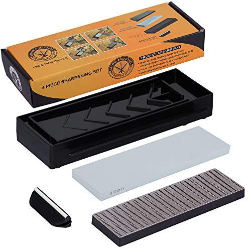 Professional Grade Diamond Block Whetstone Knife Sharpening Stone Set: 600 Grit Diamond Block Sharpener, 1000 Grit Water Stone, Non-Slip Base Custom Case & Angle Guide, PDF and Video Instruction Guide
