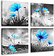 Abstract Blue Tulip Flower Painting Art 4 Panles Canvas Picture Print Modern Elegant Artwork for Living Room Home Decorati...