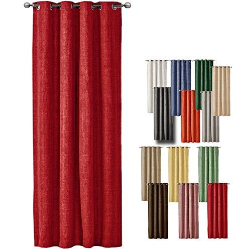 JEMIDI Ösenschal Leinen Look 140cm x 245cm Blickdicht Ösenvorhang Ösengardine Schal Store Fenster Dekoschal Gardine Rot