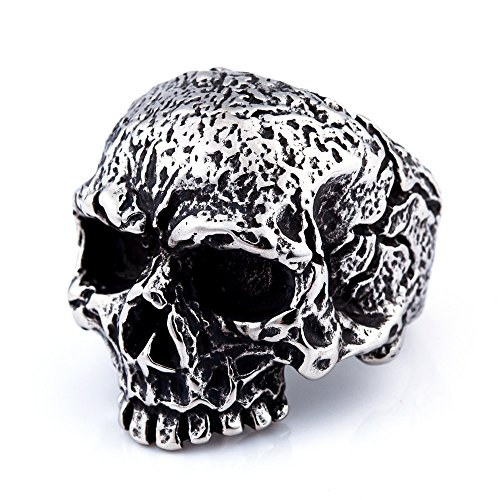 Mens Fashion Jewelry Rings, 316L Stainless Steel Silver Cracked Skull Ring for Men (8)