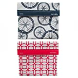 LunchSkins Reusable Sub Bags- 2 Pack-(Navy Blue Bike + Red Mosaic)