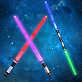 Huanchenda Light Sabers 2-in-1 LED FX Dual Light Swords Set with Sound (6 Colors and Motion Sensitive), Light Sabers for Kids Star Wars, Galaxy War Fighters, Halloween Party, Xmas Presents (2 Pack)