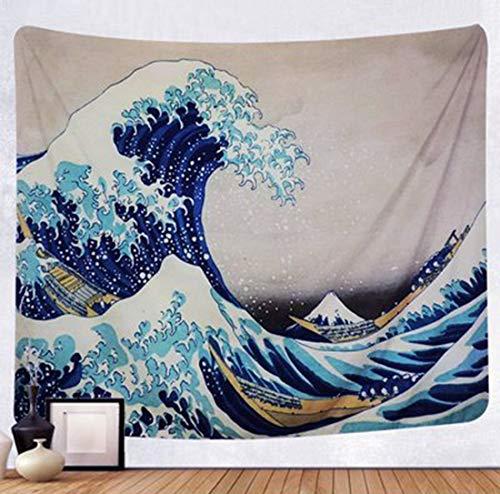LIGICKY Wandteppich Wandtuch Hippie Tapisserie Ukiyoe Hokusai The Great Wave off Kanagawa Wandbehang Picknickdecke Staubtuch Tischdecke Wand Dekor Heimdekoration für Wohn und Schlafzimmer, 150 x 200cm