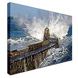 Qbbes, Big wave Cornwall Reino Unido Lienzo Arte de la pared Impresión de imagen-32x24inch(80x60cm)no frame