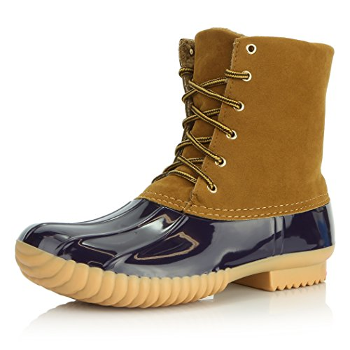DailyShoes Women's Duck Boot Waterproof Rain Snow Winter Warm Ankle Short Lace Up Round Toe Boots Non Slip Booties High Plain Padded Mud Rubber Donald-04 Blue Tan Sv 12