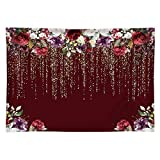 Funnytree 7x5ft Durable Fabric Burgundy Red Flowers Backdrop No Wrinkles Golden Glitter Floral Birthday Party Photography Background Bridal Shower Wedding Girl Adults Anniversary Decor Photo Studio