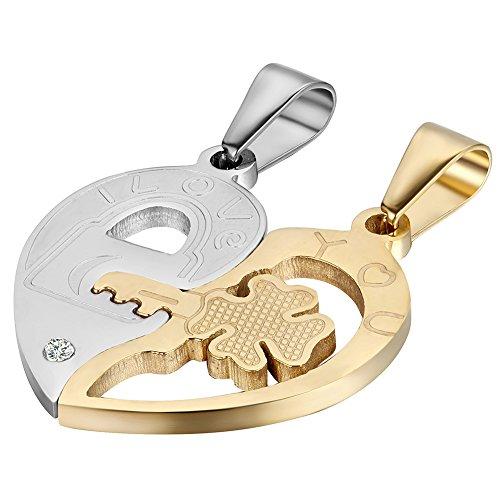 Collar con colgante en forma de corazón con candado y llave a juego, acero inoxidable, tono dorado y plateado (un par)
