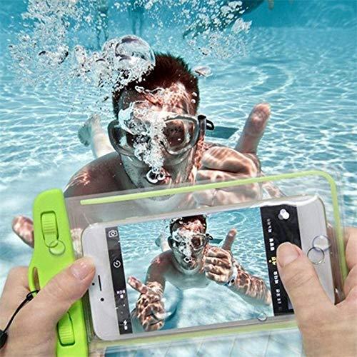 KJGF 2 PCS Bolsa de teléfono a Prueba de Agua Bolsa de natación de Deriva Bolso seco subacuático Cubierta de Caja para teléfono Agua Deportes Piscina de Playa Skiing 6 Pulgadas (Green)