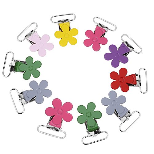 10pcs 25mm Multi-Color en forma de ciruela Clip de chupete de bebé Clip de chupete de metal Clip de liga para juguetes de anillo de dentición