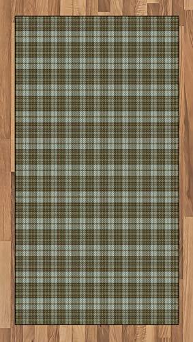 ABAKUHAUS Schotse ruit Tapijt, Schotse stijl Ornamental, vlak Geweven Vloerkleed voor Woonkamer, Slaapkamer, Eetkamer, 80 x 150 cm, Pale Green Pale Brown