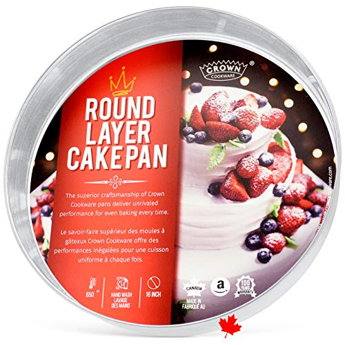 Crown 16' Round Cake Pan, 2' Deep, Heavy Duty, Even-Heating, Pure Aluminum, Made in Canada
