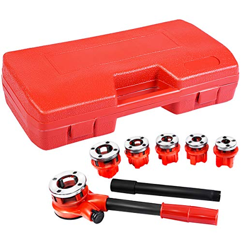 Goplus Ratchet Pipe Threader Kit, Ratcheting Pipe Threading Tool Set w/ 6 Dies- 1/4
