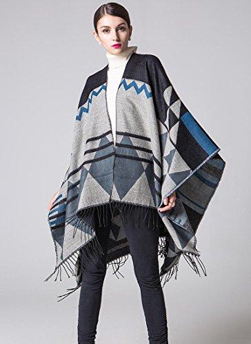 JH Frauen Mode Nepal Stil geometrischen Mustern Oversized verdickte Decke Schal Wickeln Poncho Schal Cape gemütliche Faux Cashmere Oversized Tartan Schals ideale Geschenke für Frau 150 * 130cm, a