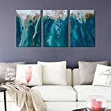 FlyWallD Abstract Art Blue Wall Art Coastal Landscape Large Print on Canvas Modern Home Decor Wall...