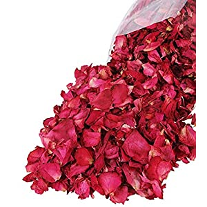 Pétalos de rosa secos naturales Lvcky100 g de pétalos de rosa roja para pies, baño, spa, boda, confeti, casa, fragancia…