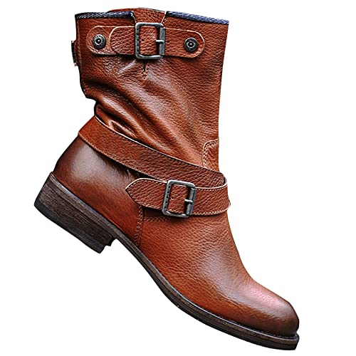 DKBL Short Boots for Women Solid Color Ankle Boots Fashion Belt Buckle Boots Autumn and Winter Ankle Boots Brown