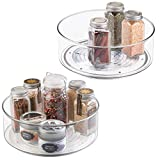 mDesign Lazy Susan Turntable Condiment Holder - Set of 2 - Plastic Revolving Condiments and Spice Rack - Ideal <span class='highlight'>Kitchen</span> <span class='highlight'>Storage</span> Unit for Cooking Oil, Ingredients, Bottles and Jars - Clear