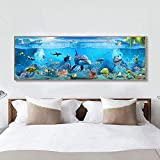 Carteles e impresiones azules modernos Animales de peces marinos del mar profundo Pintura en lienzo Arte de la pared para la habitación de los niños Decoración del acuario Pintura-40x120cm Sin marco