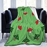 Manta para todas las estaciones de la cama, manta reversible ultra lujosa, 40 x 50 pulgadas, setas festivas verdes