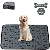 2 Pack Non-Slip Washable Dog Pee Pads,Non-Slip Puppy Pee Pads,Puppy Potty Training Pads, Dog Whelping Pad,Waterproof,Reusable,Quick Dry,Anti-Tear Pet Bed Mat for Playpen,Crate,Kennel,35'x23'