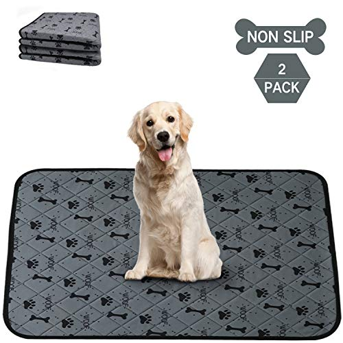 2 Pack Non-Slip Washable Dog Pee Pads,Waterproof Puppy Pee Pads,Puppy Potty Training Pads, Dog Whelping Pad,Waterproof,Reusable,Quick Dry,Anti-Tear Pet Bed Mat for Playpen,Crate,Kennel,35