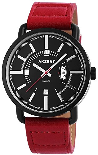 Akzent Herrenuhr mit Lederimitationsarmband Farbe Rot Schwarz Moderne Analog Quarz Herren Armbanduhr