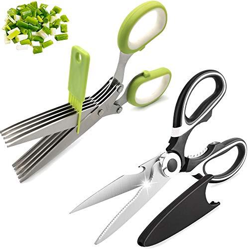 2 Piezas Utensilios de Cocina de Acero Inoxidable Tijeras de Cocina Multiusos,Tijeras de cocina de hierbas con 5 cuchillas de acero inoxidable y con peine de limpieza