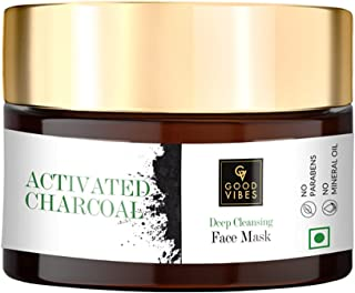 Good Vibes Activated Charcoal Deep Cleansing Face Mask, 50 g Blackhead Removal Deep Pore Cleansing Anti Acne Face Mask For...