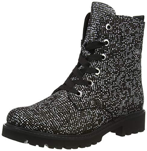 Remonte Damen D8676 Mode-Stiefel, schwarz/Weiss-Bronze/schwarz / 02, 37 EU