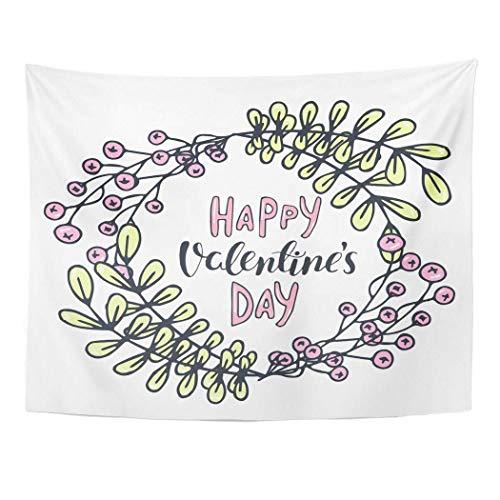 N\A Decoración Tapiz de Pared Berry Romántico Floral Guirnalda Natural Frase para el día de San Valentín Boda Dibujos Animados Colgante de Pared Picnic para Dormitorio Sala de Estar Dormitorio