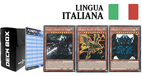 Andycards Yu-Gi-Oh! Set divinità Egizie (Drago Alato di RA, Obelisk Il Tormentatore, Slifer Il Drago del Cielo) Rarità: Segreta Prismatica in Italiano + Deck Box Nero God-Player + Segnapunti