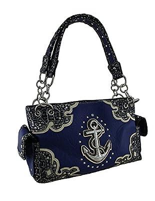 Nautical Anchor Rhinestone Studded Concealed Carry Handbag