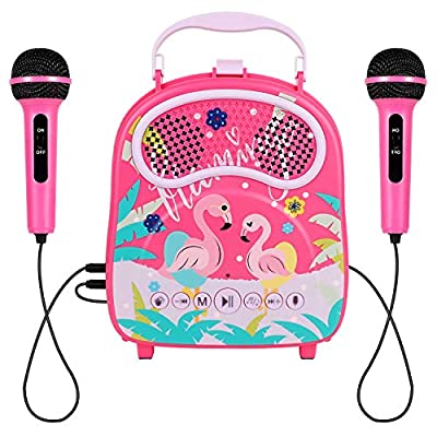 HowQeen Karaoke Machine 2 Microphones Children Bluetooth Karaoke Toy with Voice Changer Portable Indoor Outdoor Activities for Party Christmas Birthday Gift for Toddlers by HowQeen