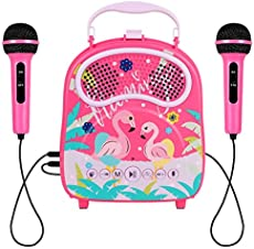 HowQeen Karaoke Machine 2 Microphones for Girls Bluetooth Karaoke Toy Machine Kids Voice Changer Portable Indoor Outdoor Activities for Party Christmas Birthday Gift for Toddlers