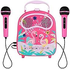 HowQeen Karaoke Machine 2 Microphones Children Bluetooth Karaoke Toy Machine Kids Voice Changer Portable Indoor Outdoor Activities for Party Christmas Birthday Gift for Toddlers