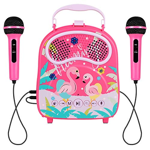 HowQeen Karaoke Machine 2 Microphones Children Bluetooth Karaoke Toy Machine Kids Voice Changer Portable Indoor Outdoor Activities for Party Christmas Birthday Gift for Toddlers