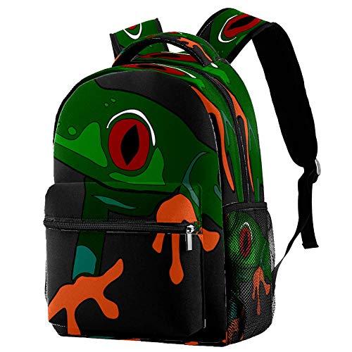 Mochila escolar con diseño de rana de árbol en una hoja, mochila para libros, mochila informal para viajes, estampado 5, Talla única, Mochila de a diario