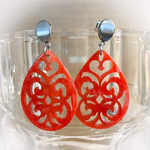 Große Tropfen Ohrringe/Ohrstecker mit Ornament aus sehr leichtem Kunststoff (Resin Kunstharz) in Koralle Rot mit Glitzer, Edelstahl Hänger oder Stecker