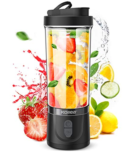Portable Blender, Kollea Personal Size Blender for Shakes and Smoothies 18oz Smoothie Blender Juice Maker with 6 Blades, Travel Blender for Sports, Gym, Travel, Home, Office Use (Black)